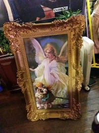 4 foot tall Angel picture/ frame is hard plastic