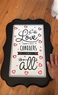 Love conquers all sign decoration Reston, 20190