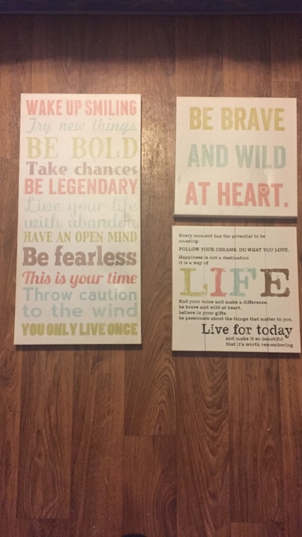 three white quotes wall decoration