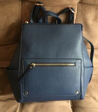 Blue leather backpack  Montreal