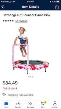 "New in box pink camouflage 48"" trampoline"