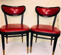 two black wooden framed red leather padded chairs Lorton, 22079