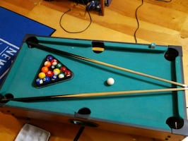 4 foot pool table with foosball to