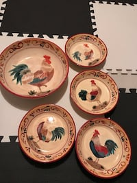 five round white chicken print ceramic bowls