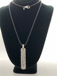 100% Authentic David Yurman Silver Natural Gator Ingot Tag and Necklace Los Angeles, 90291