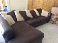 Brown sectional with lots of pillows Blanchard, 73010