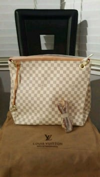 white and gray monogram Michael Kors leather tote bag Falls Church, 22041
