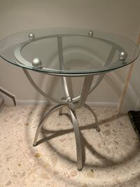Glass and steel high table with 2 barstools  Toronto, M2R 2T4