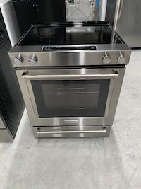 KITCHEN AID STAINLESS GLASS TOP SLIDE IN STOVE 4 MONTH WARRANTY