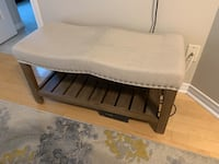 brown wooden frame white padded bench Toronto, M2N