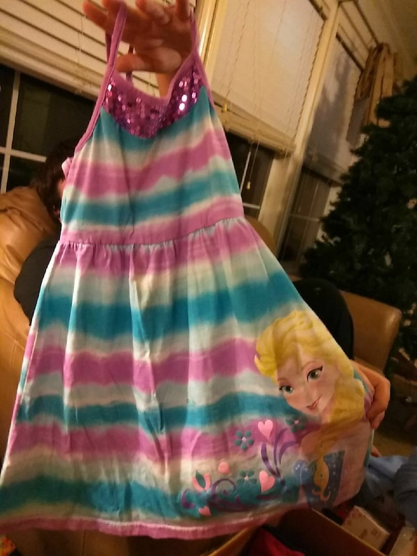 toddler's white, teal, and purple halter flare dress