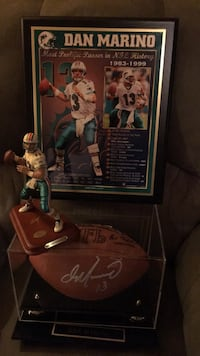 Any Marino fans out there?  signed ball from his last game played. In a case  with a plaque of stats and a Danbury mint figurine. Have COA and original box for ball. 247 mi