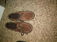 pair of brown leather boat shoes