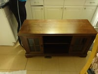 brown wooden TV stand with cabinet MIAMI