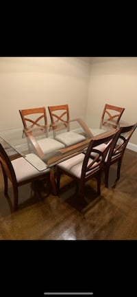 rectangular brown wooden table with chairs dining set Turlock, 95382