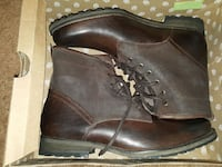 pair of brown leather combat boots with box Winnipeg, R3Y 1S3