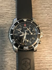 round black chronograph watch with black leather strap Moreno Valley, 92553