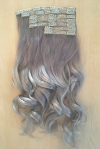 Silver Balayage Clip In Hair Extensions