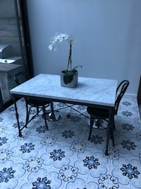"""Crate and Barrel 34x 56"""" Marble top dining table with 2 chairs New York, 10009"""