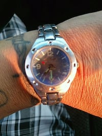 round silver-colored chronograph watch with link bracelet Durant, 74701