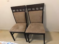 two black wooden frame brown padded chairs Toronto, M2H