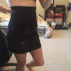 black with lace mini skirt