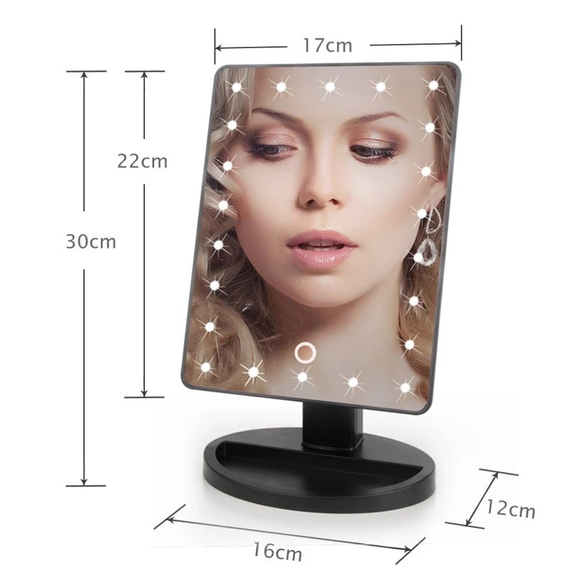 22 LED Touch Screen Makeup Mirror Tabletop Cosmetic light up c22fad70-7687-47dc-9eea-40c105540e1c