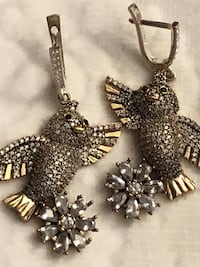 Flowers Birds Crystal Topaz Silver Earrings Nashville, 37209