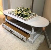Antique/ vintage shabby chic newly painted white wooden coffee table Langley, V2Y 2V7