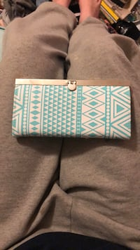 Teal & White Tribal Print Wallet Frederick, 21702