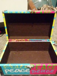pink, teal, and yellow wooden box