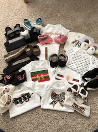 Baby matching bodysuits and crochet shoes