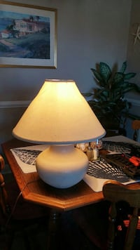 white ceramic table lamp with white shade