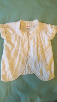 Size 3T girls white button down short sleeve sweater (Gymboree) Triangle, 22172