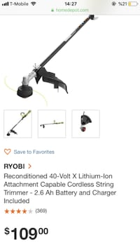 RYOBI Reconditioned 40-Volt X Lithium-Ion Attachment Capable Cordless String Trimmer - 2.6 Ah Battery and Charger Included Sugar Land