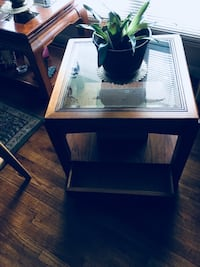 rectangular clear glass top end table Hobart