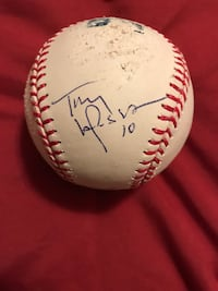 David Freese used and signed memorabilia. Game warn Jersey, in game broken bat, signed Texas league game ball, signed Tony La Russa Major League Baseball, authentic 2011 World Series game ball, post season stat line picture.  Rogersville, 65742