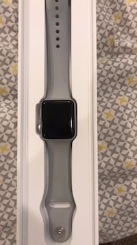 space gray aluminum case Apple Watch with white sports band Washington, 20011