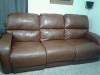 brown leather 3-seat sofa Maple Hill, 66507
