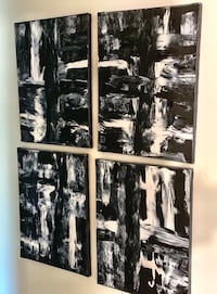 Black & white abstract painting (local pick up only)