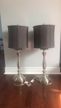 Lamps. Gray and silver. $20 for the pair.  Ajax, L1T 0K1
