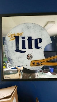 white Miller Lite mirror sign