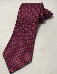 Brooks Brothers Classic Geometric Red and Blue Mens Necktie 100% Silk Work Tie Clarksville