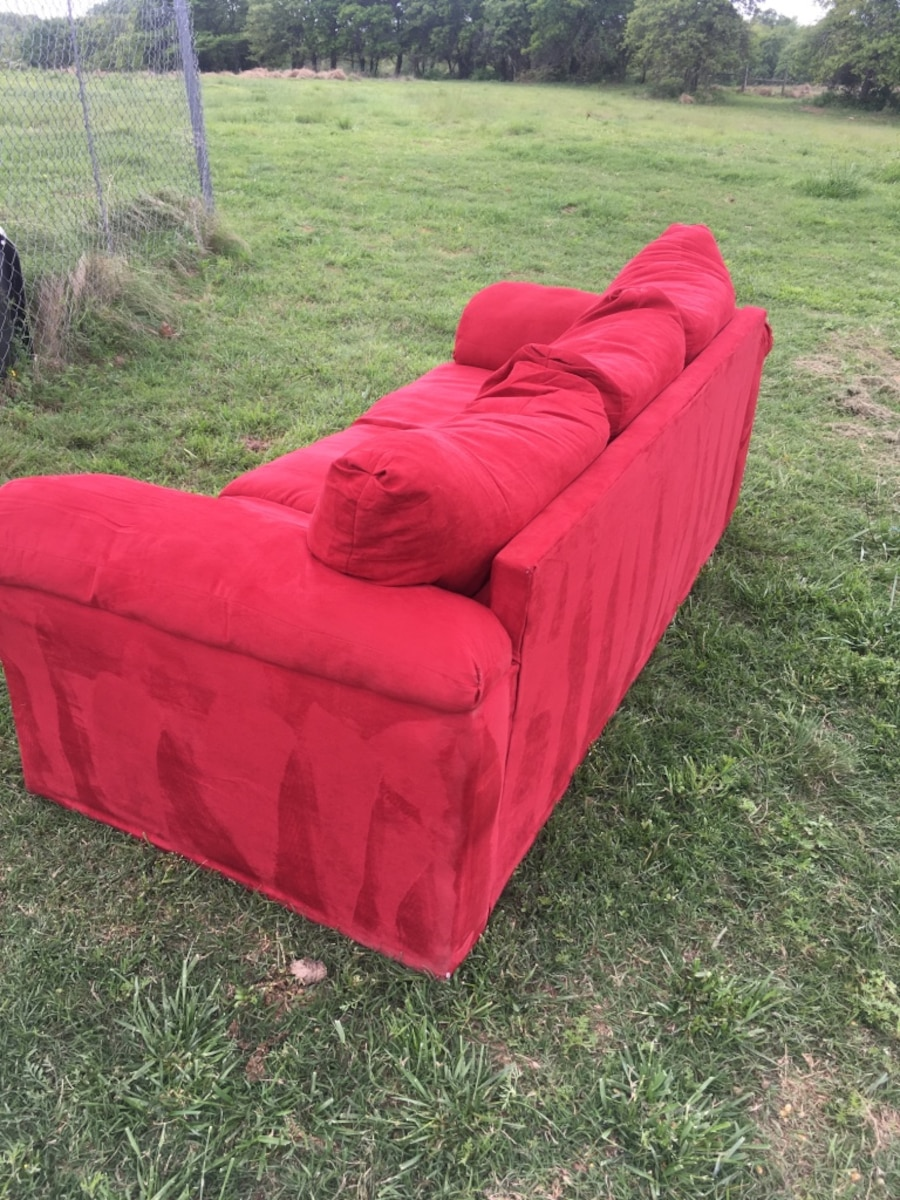 Used red microfiber 7 foot couch in newalla for 8 foot couch