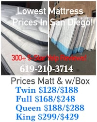 white and blue bed mattress San Diego, 92154
