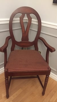 brown wooden framed red padded armchair Laval, H7W 1S3
