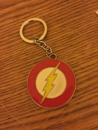 white, yellow, and red The Flash logo keychain Calgary, T2P