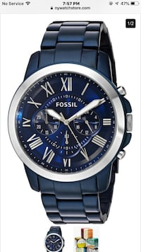 Mens REAL New Blue Fossil Watch Worth $180 in Market