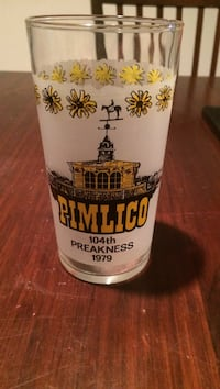 white and yellow Pimlico printed clear drinking glass Frederick, 21703