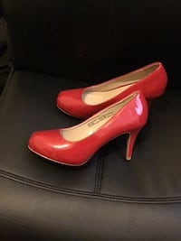 Pair of red leather platform stilettos. (Size 9) Elkridge